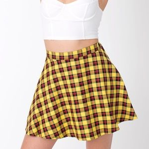 American Apparel Plaid Circle Skirt - Yellow